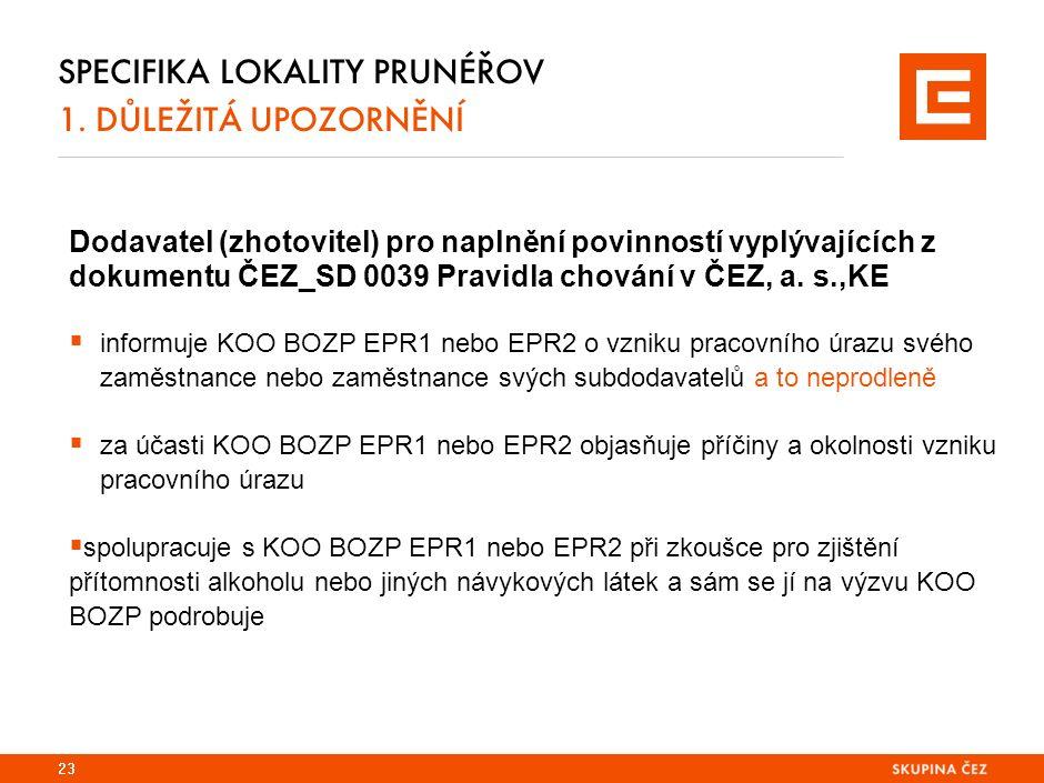 Dodavatel (zhotovitel) pro naplnění povinností vyplývajících z dokumentu ČEZ_SD 0039 Pravidla chování v ČEZ, a.