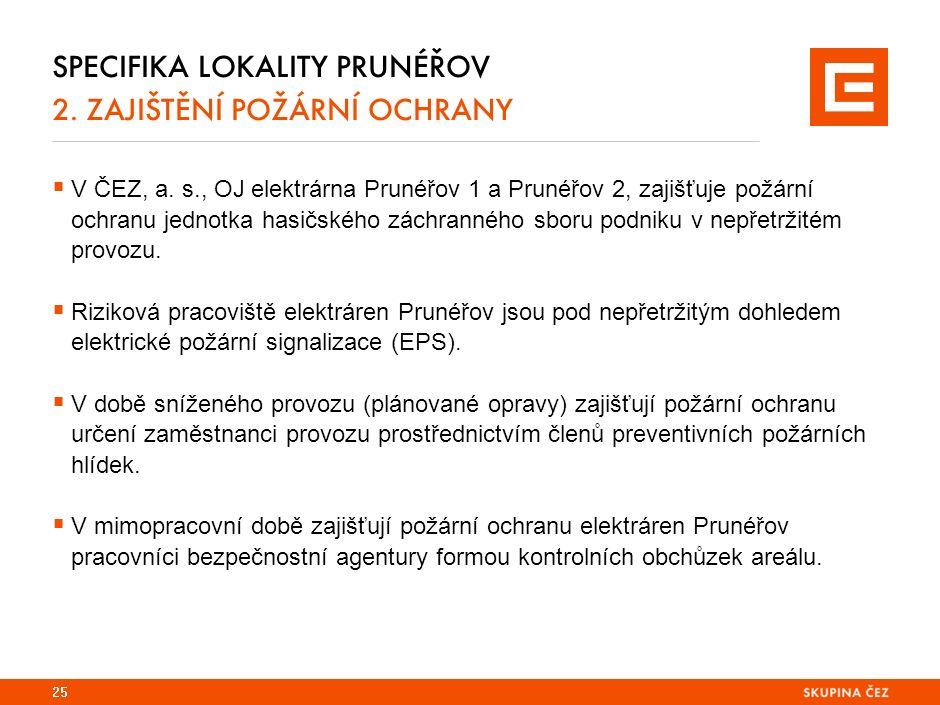 SPECIFIKA LOKALITY PRUNÉŘOV 2. ZAJIŠTĚNÍ POŽÁRNÍ OCHRANY  V ČEZ, a.