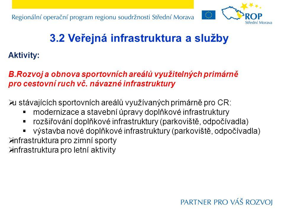 3.2 Veřejná infrastruktura a služby Aktivity: B.Rozvoj a obnova sportovních areálů využitelných primárně pro cestovní ruch vč. návazné infrastruktury