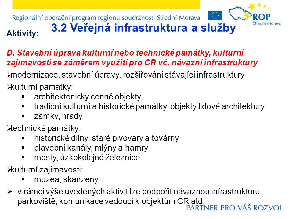 3.2 Veřejná infrastruktura a služby Aktivity: D. Stavební úprava kulturní nebo technické památky, kulturní zajímavosti se záměrem využití pro CR vč. n