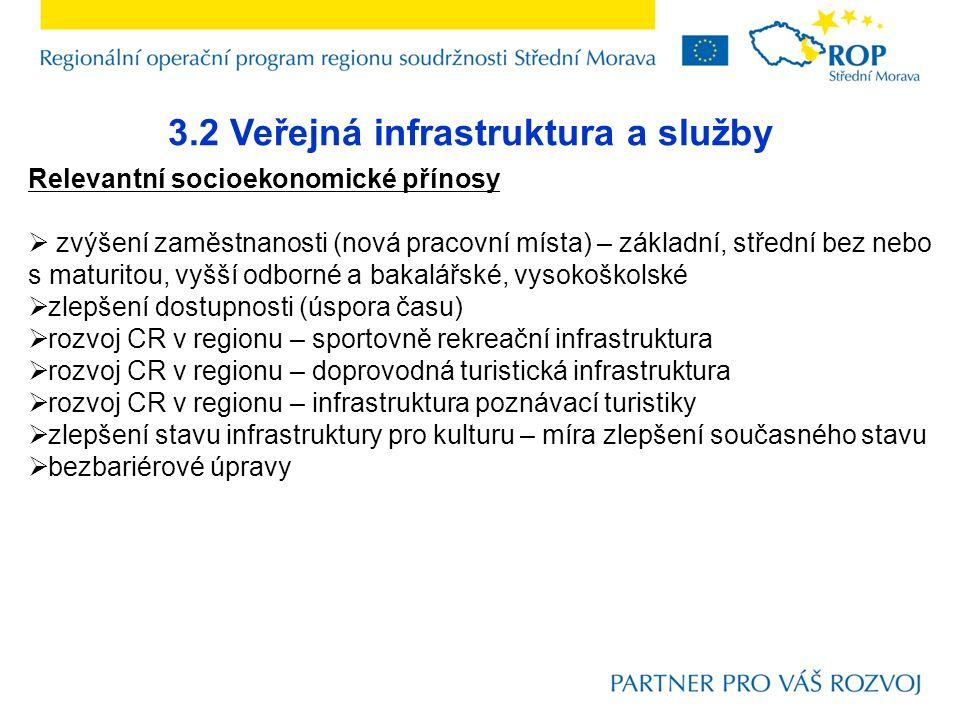 3.2 Veřejná infrastruktura a služby Relevantní socioekonomické přínosy  zvýšení zaměstnanosti (nová pracovní místa) – základní, střední bez nebo s ma