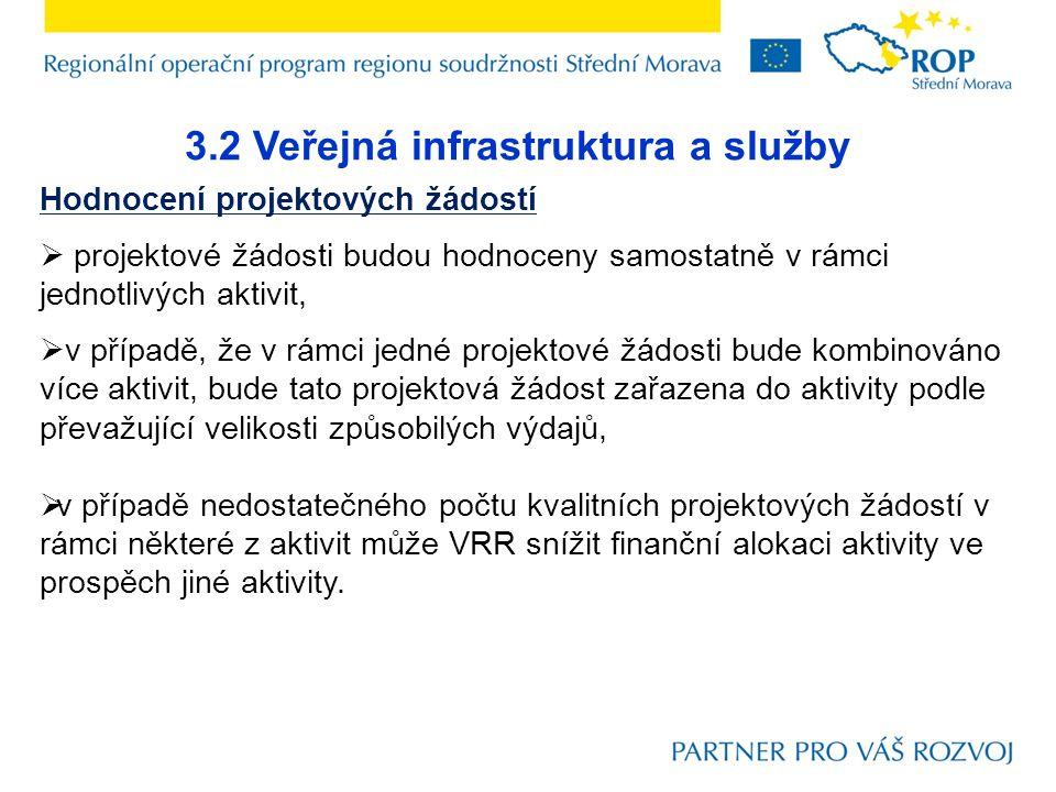 3.2 Veřejná infrastruktura a služby Hodnocení projektových žádostí  projektové žádosti budou hodnoceny samostatně v rámci jednotlivých aktivit,  v p