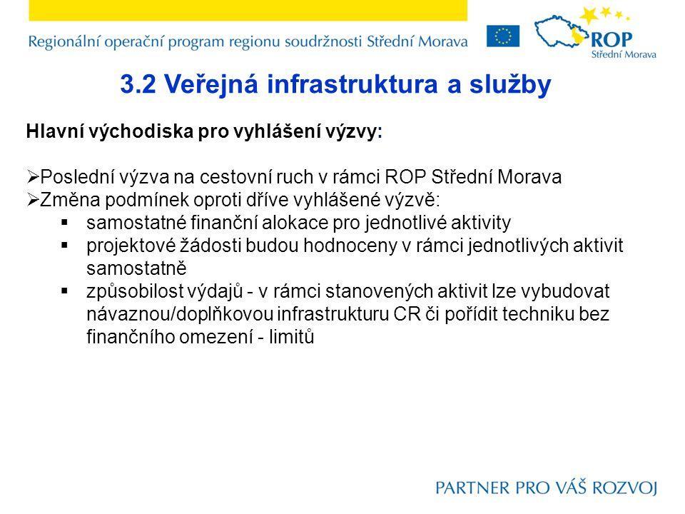 3.2 Veřejná infrastruktura a služby Hlavní východiska pro vyhlášení výzvy:  Poslední výzva na cestovní ruch v rámci ROP Střední Morava  Změna podmín