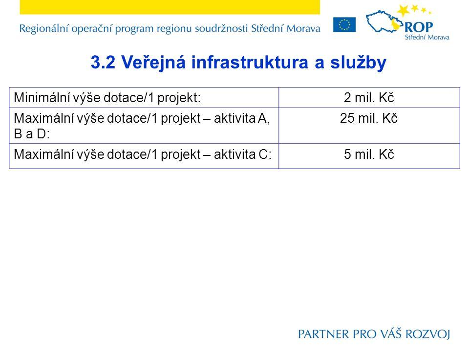3.2 Veřejná infrastruktura a služby Maximální procentní výše dotace – IS Benefit7: 85% ze způsobilých výdajů Předpokládaná procentní výše dotace - reálná výše dotace 70% ze způsobilých výdajů  Projekty nezakládající veřejnou podporu – maximální procentní výše dotace  Projekty zakládající veřejnou podporu – maximální procentní výše dotace Malý podnik:60% ze způsobilých výdajů Střední podnik:50% ze způsobilých výdajů Velký podnik (např.