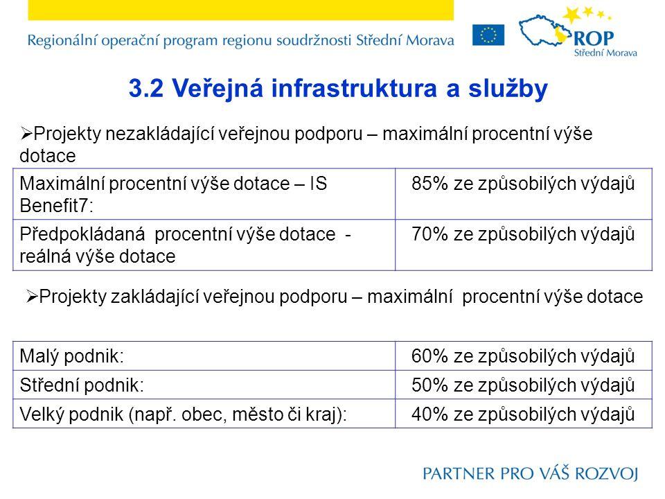 3.2 Veřejná infrastruktura a služby Maximální procentní výše dotace – IS Benefit7: 85% ze způsobilých výdajů Předpokládaná procentní výše dotace - reá