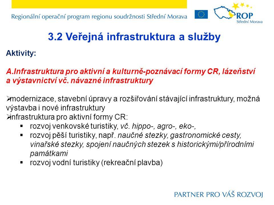 3.2 Veřejná infrastruktura a služby Aktivity: A.Infrastruktura pro aktivní a kulturně-poznávací formy CR, lázeňství a výstavnictví vč. návazné infrast