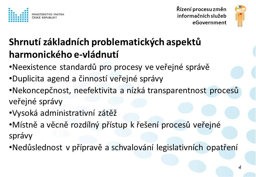 Řízení procesu změn informačních služeb eGovernment 4 Shrnutí základních problematických aspektů harmonického e-vládnutí Neexistence standardů pro procesy ve veřejné správě Duplicita agend a činností veřejné správy Nekoncepčnost, neefektivita a nízká transparentnost procesů veřejné správy Vysoká administrativní zátěž Místně a věcně rozdílný přístup k řešení procesů veřejné správy Nedůslednost v přípravě a schvalování legislativních opatření