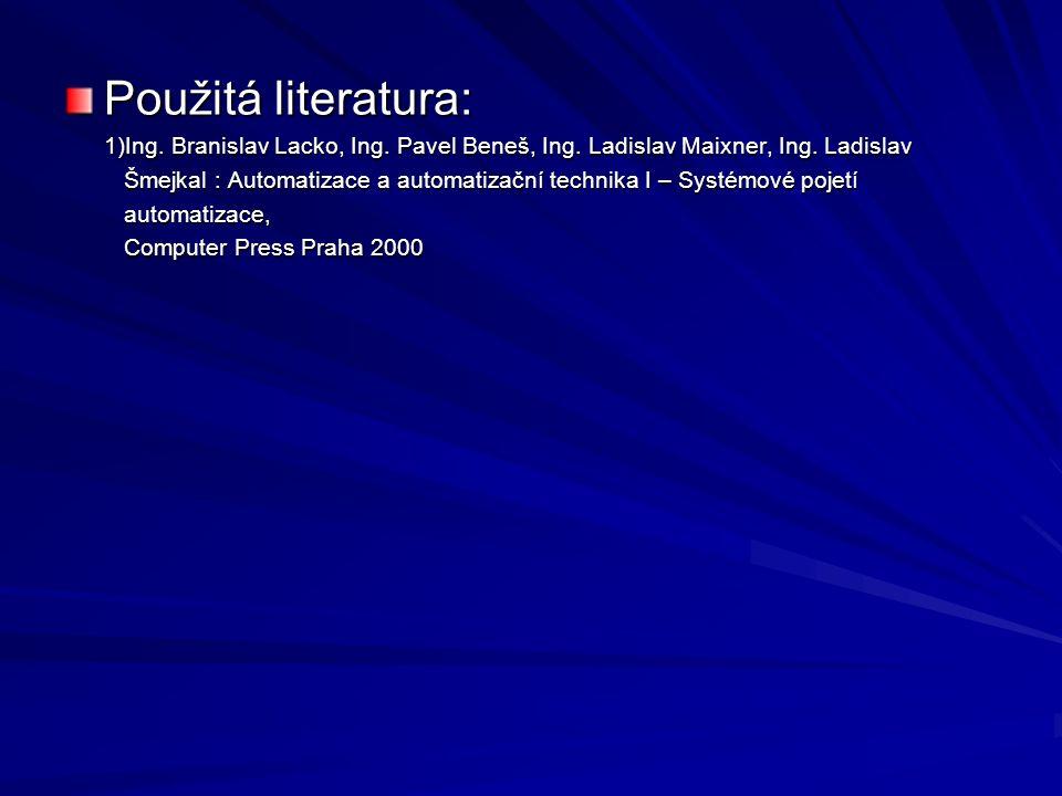 Použitá literatura: 1)Ing. Branislav Lacko, Ing. Pavel Beneš, Ing. Ladislav Maixner, Ing. Ladislav 1)Ing. Branislav Lacko, Ing. Pavel Beneš, Ing. Ladi