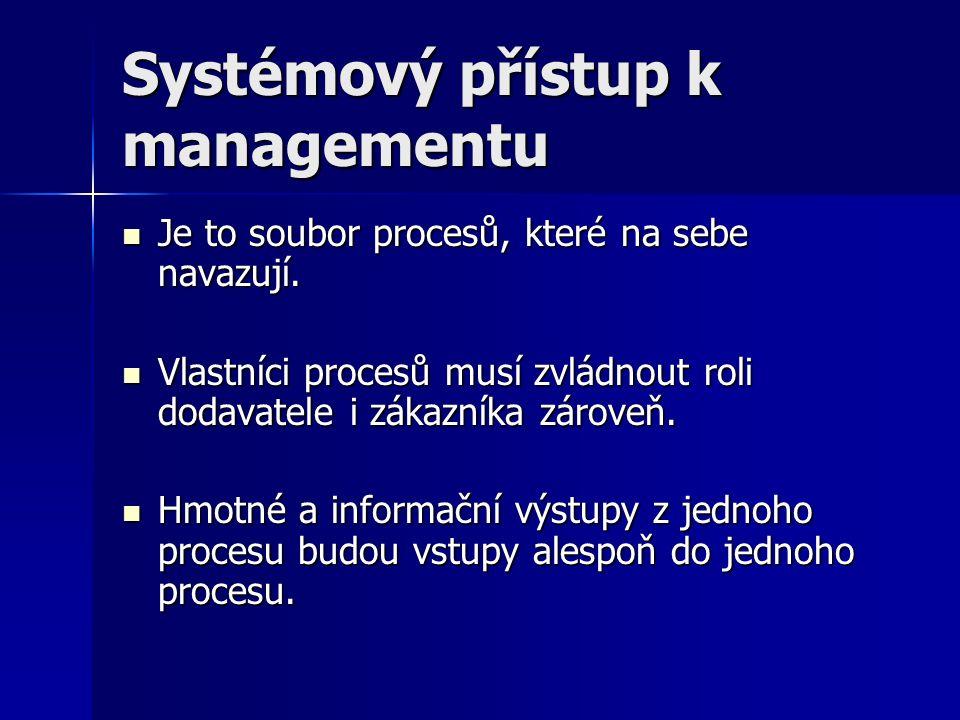 Systémový přístup k managementu Je to soubor procesů, které na sebe navazují. Je to soubor procesů, které na sebe navazují. Vlastníci procesů musí zvl