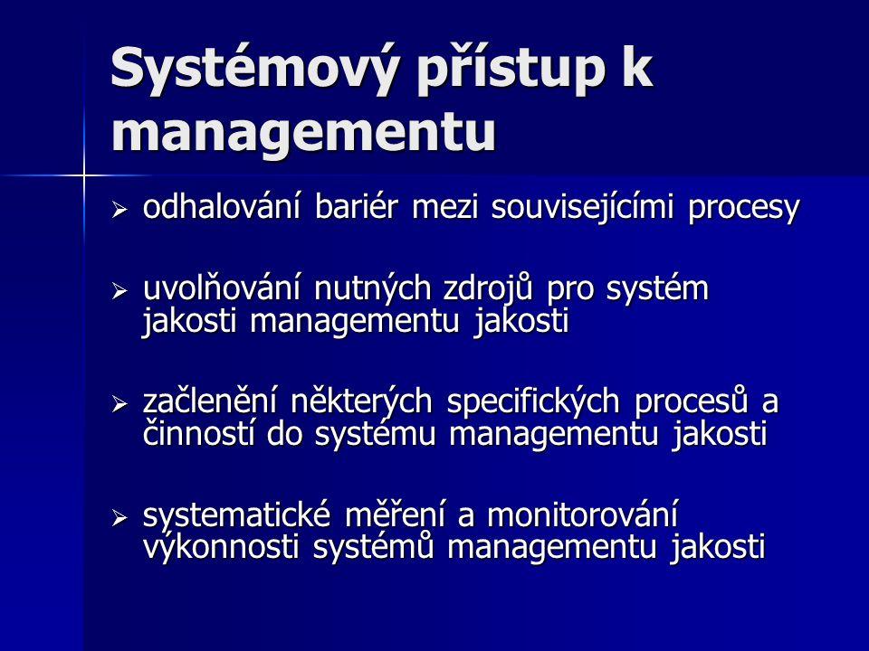 Systémový přístup k managementu  odhalování bariér mezi souvisejícími procesy  uvolňování nutných zdrojů pro systém jakosti managementu jakosti  začlenění některých specifických procesů a činností do systému managementu jakosti  systematické měření a monitorování výkonnosti systémů managementu jakosti