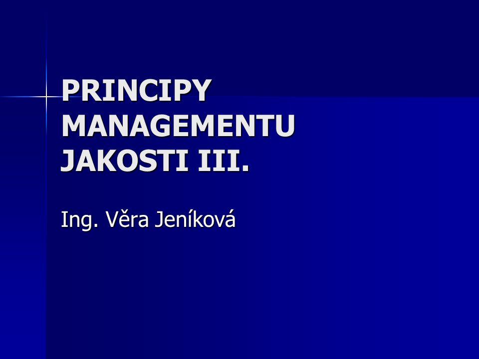 PRINCIPY MANAGEMENTU JAKOSTI III. Ing. Věra Jeníková