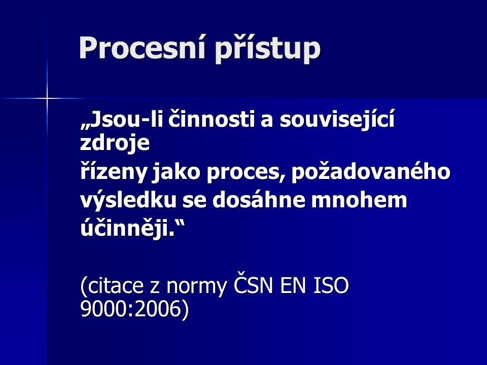 """Procesní přístup """"Jsou-li činnosti a související zdroje řízeny jako proces, požadovaného výsledku se dosáhne mnohem účinněji. (citace z normy ČSN EN ISO 9000:2006)"""