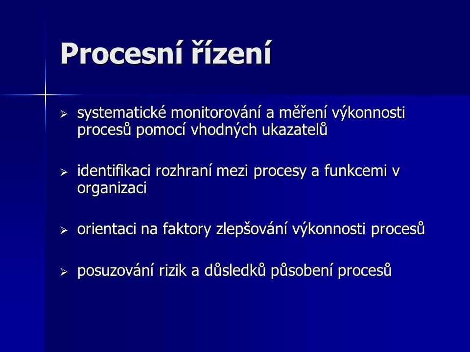 Procesní řízení  systematické monitorování a měření výkonnosti procesů pomocí vhodných ukazatelů  identifikaci rozhraní mezi procesy a funkcemi v organizaci  orientaci na faktory zlepšování výkonnosti procesů  posuzování rizik a důsledků působení procesů