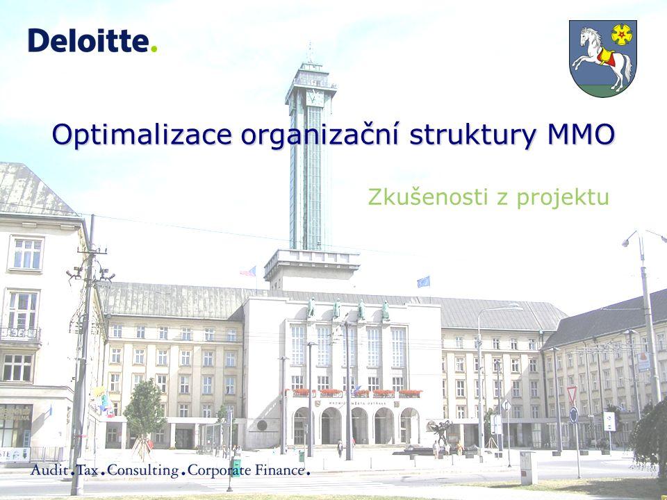 Optimalizace organizační struktury MMO Zkušenosti z projektu
