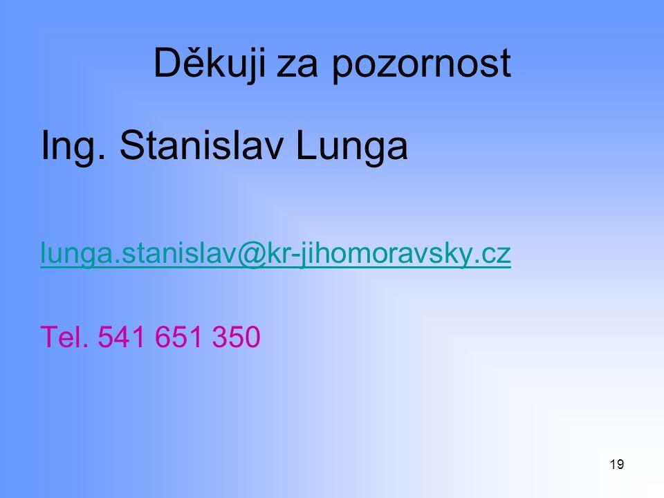 Děkuji za pozornost Ing. Stanislav Lunga lunga.stanislav@kr-jihomoravsky.cz Tel. 541 651 350 19