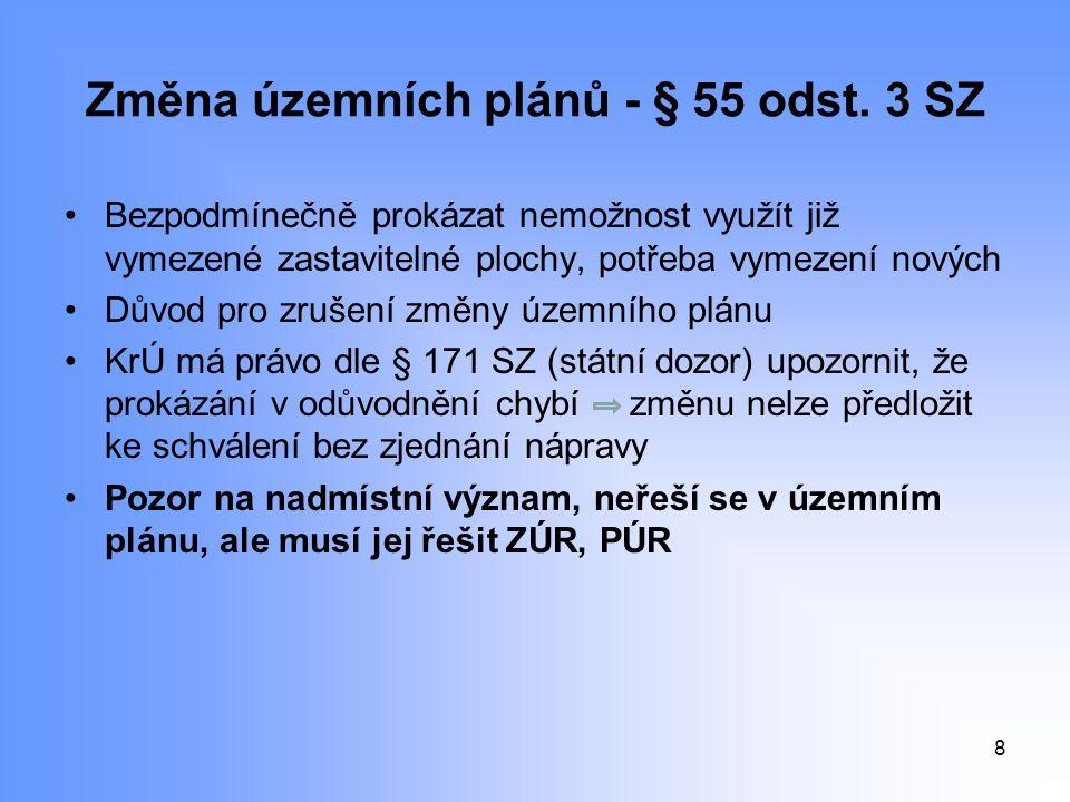 Změna územních plánů - § 55 odst.
