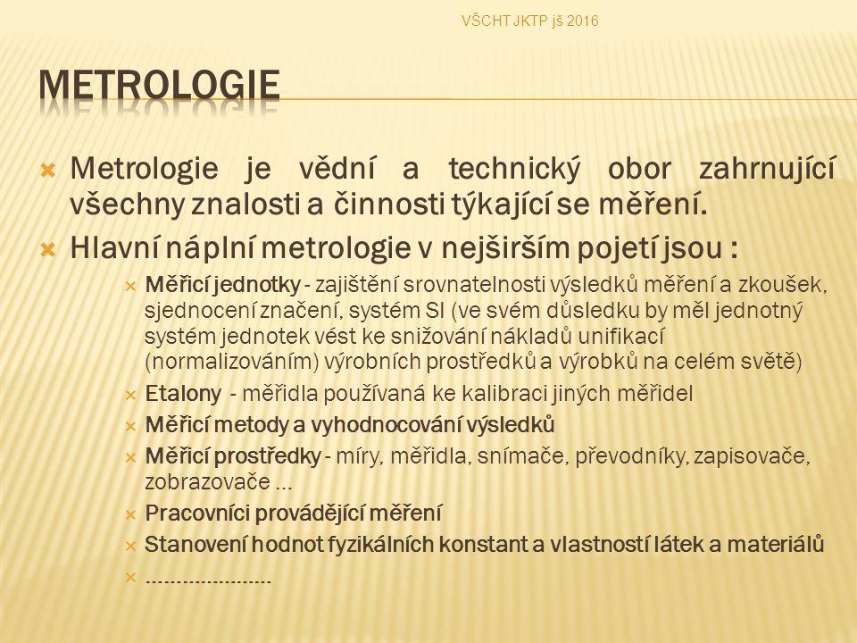  Metrologie je vědní a technický obor zahrnující všechny znalosti a činnosti týkající se měření.