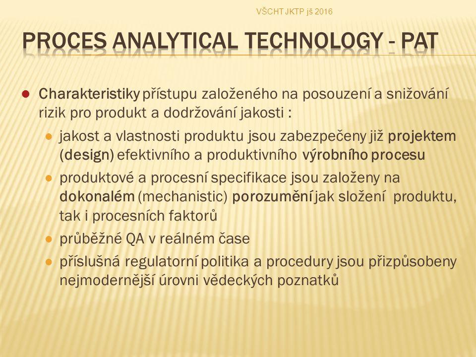 Charakteristiky přístupu založeného na posouzení a snižování rizik pro produkt a dodržování jakosti : jakost a vlastnosti produktu jsou zabezpečeny již projektem (design) efektivního a produktivního výrobního procesu produktové a procesní specifikace jsou založeny na dokonalém (mechanistic) porozumění jak složení produktu, tak i procesních faktorů průběžné QA v reálném čase příslušná regulatorní politika a procedury jsou přizpůsobeny nejmodernější úrovni vědeckých poznatků VŠCHT JKTP jš 2016