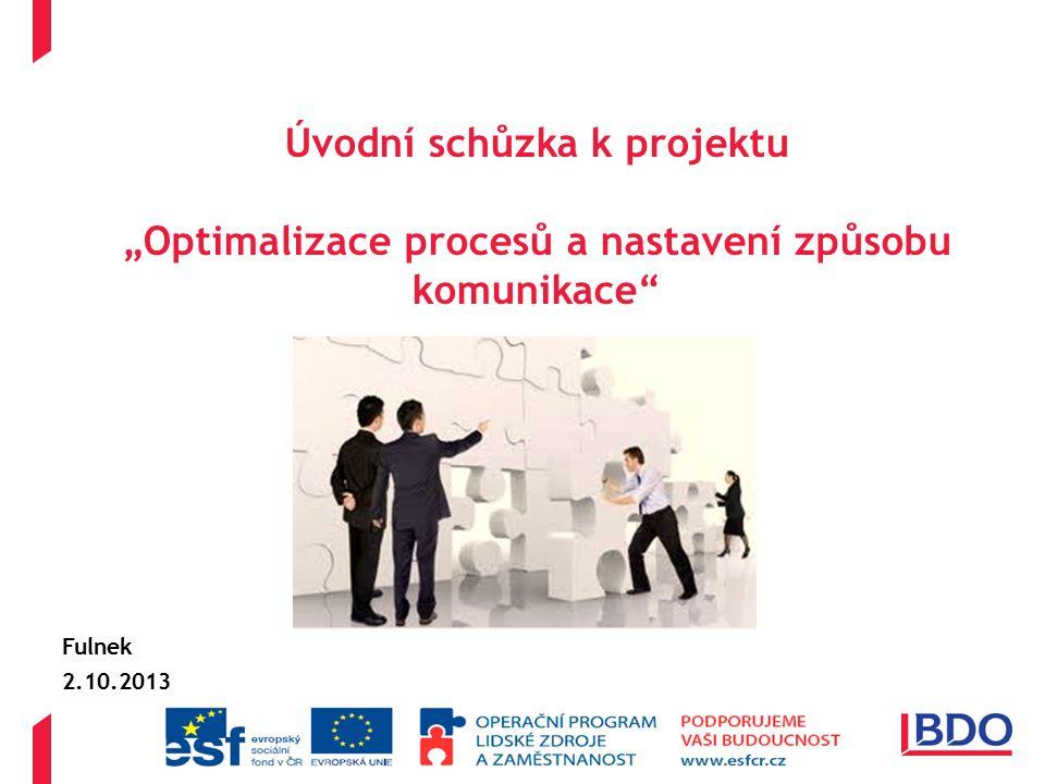 """Úvodní schůzka k projektu """"Optimalizace procesů a nastavení způsobu komunikace Fulnek 2.10.2013"""