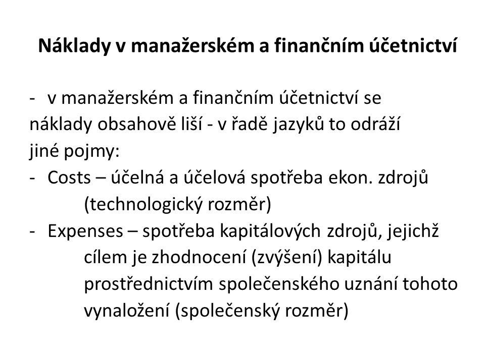 Náklady v manažerském a finančním účetnictví -v manažerském a finančním účetnictví se náklady obsahově liší - v řadě jazyků to odráží jiné pojmy: -Costs – účelná a účelová spotřeba ekon.