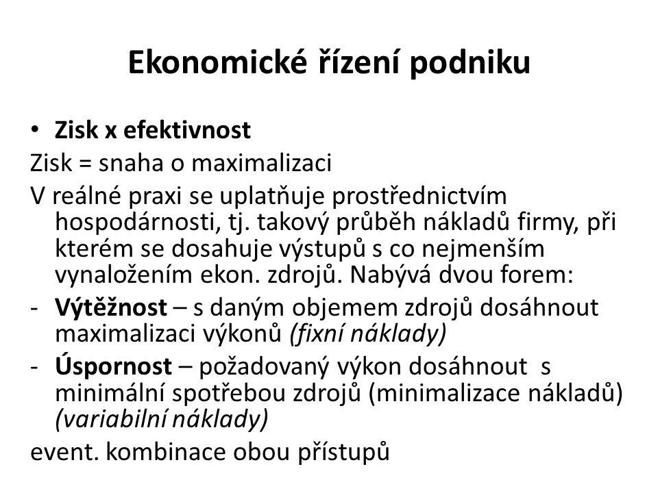Ekonomické řízení podniku Zisk x efektivnost Zisk = snaha o maximalizaci V reálné praxi se uplatňuje prostřednictvím hospodárnosti, tj.