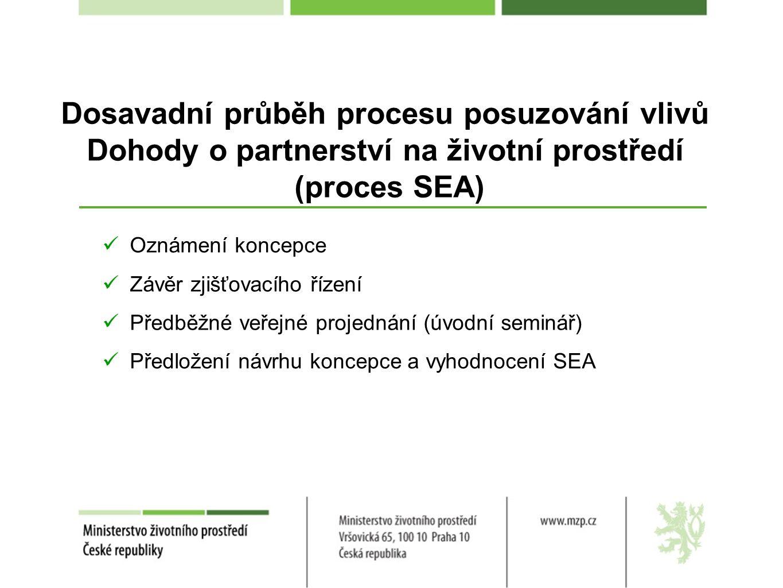 Dosavadní průběh procesu posuzování vlivů Dohody o partnerství na životní prostředí (proces SEA) Oznámení koncepce Závěr zjišťovacího řízení Předběžné veřejné projednání (úvodní seminář) Předložení návrhu koncepce a vyhodnocení SEA
