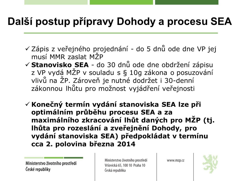 Další postup přípravy Dohody a procesu SEA Zápis z veřejného projednání - do 5 dnů ode dne VP jej musí MMR zaslat MŽP Stanovisko SEA - do 30 dnů ode dne obdržení zápisu z VP vydá MŽP v souladu s § 10g zákona o posuzování vlivů na ŽP.