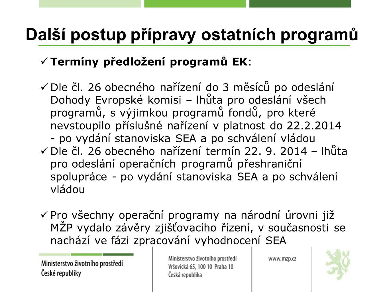 Další postup přípravy ostatních programů Termíny předložení programů EK: Dle čl.