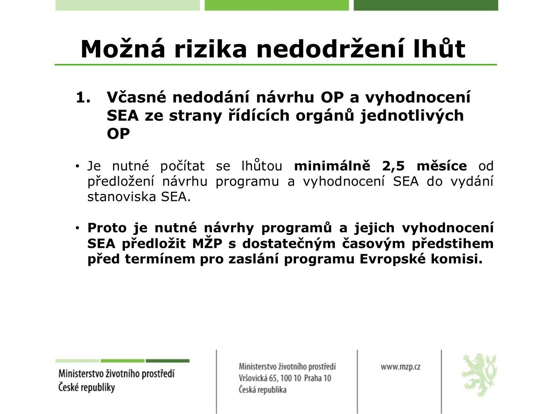 Možná rizika nedodržení lhůt 1.Včasné nedodání návrhu OP a vyhodnocení SEA ze strany řídících orgánů jednotlivých OP Je nutné počítat se lhůtou minimálně 2,5 měsíce od předložení návrhu programu a vyhodnocení SEA do vydání stanoviska SEA.