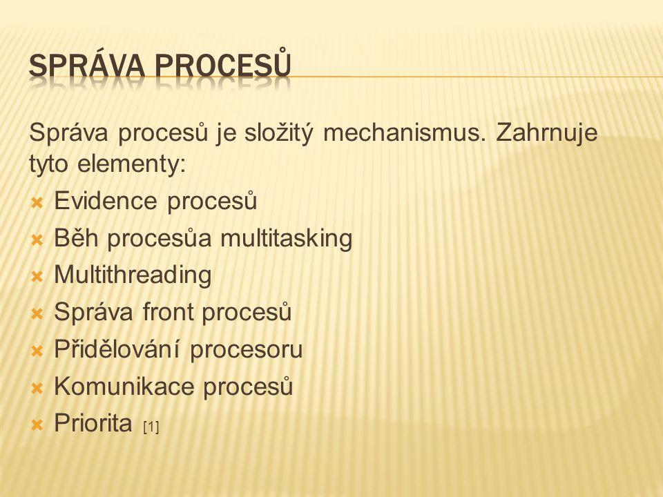 Správa procesů je složitý mechanismus.