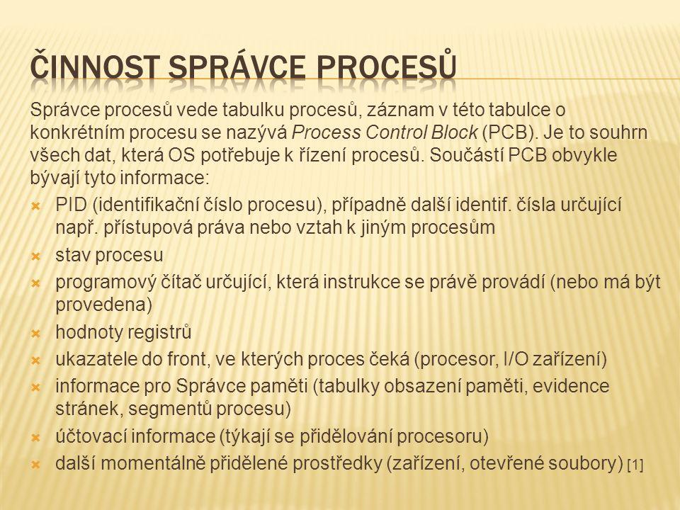 Správce procesů vede tabulku procesů, záznam v této tabulce o konkrétním procesu se nazývá Process Control Block (PCB).