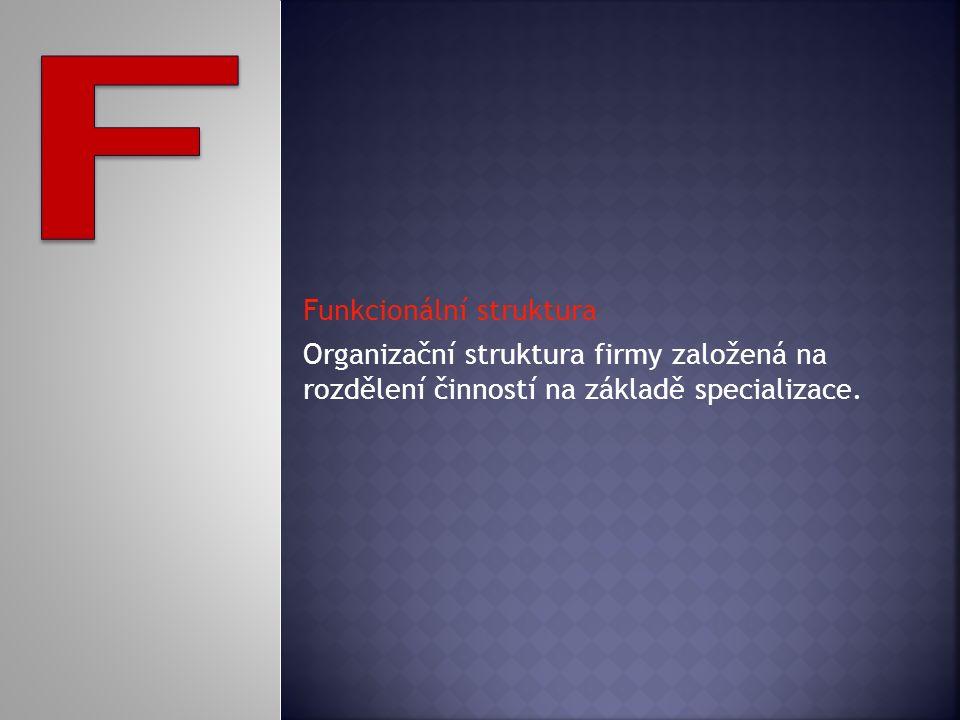 Funkcionální struktura Organizační struktura firmy založená na rozdělení činností na základě specializace.