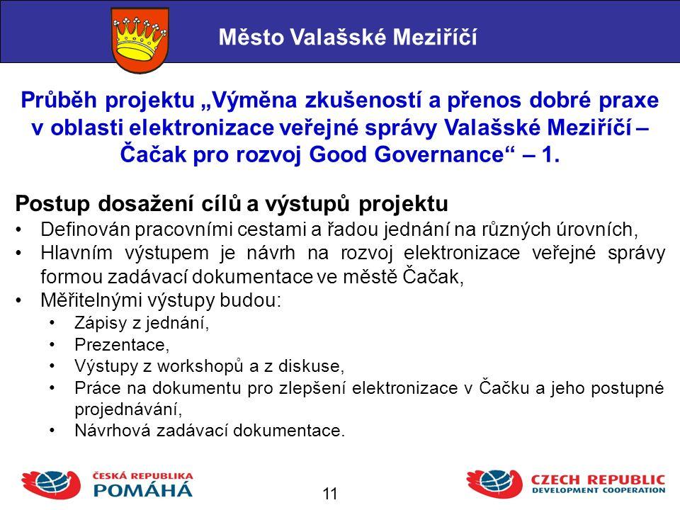 """Průběh projektu """"Výměna zkušeností a přenos dobré praxe v oblasti elektronizace veřejné správy Valašské Meziříčí – Čačak pro rozvoj Good Governance – 1."""