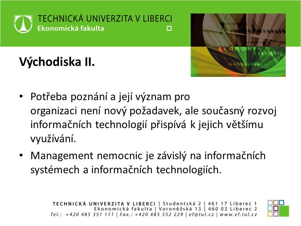 Východiska II. Potřeba poznání a její význam pro organizaci není nový požadavek, ale současný rozvoj informačních technologií přispívá k jejich větším
