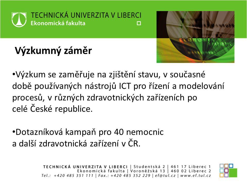 Výzkumný záměr Výzkum se zaměřuje na zjištění stavu, v současné době používaných nástrojů ICT pro řízení a modelování procesů, v různých zdravotnických zařízeních po celé České republice.