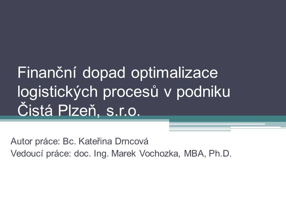 Finanční dopad optimalizace logistických procesů v podniku Čistá Plzeň, s.r.o. Autor práce: Bc. Kateřina Drncová Vedoucí práce: doc. Ing. Marek Vochoz