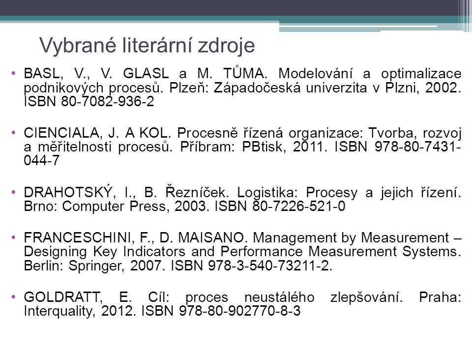 Vybrané literární zdroje BASL, V., V. GLASL a M. TŮMA. Modelování a optimalizace podnikových procesů. Plzeň: Západočeská univerzita v Plzni, 2002. ISB