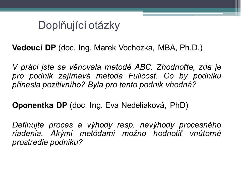Doplňující otázky Vedoucí DP (doc. Ing. Marek Vochozka, MBA, Ph.D.) V práci jste se věnovala metodě ABC. Zhodnoťte, zda je pro podnik zajímavá metoda