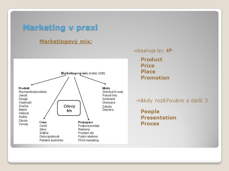 Marketing v praxi Marketingový mix: Product Price Place Promotion -obsahuje tzv. 4P -někdy rozšiřováno o další 3 People Presentation Proces