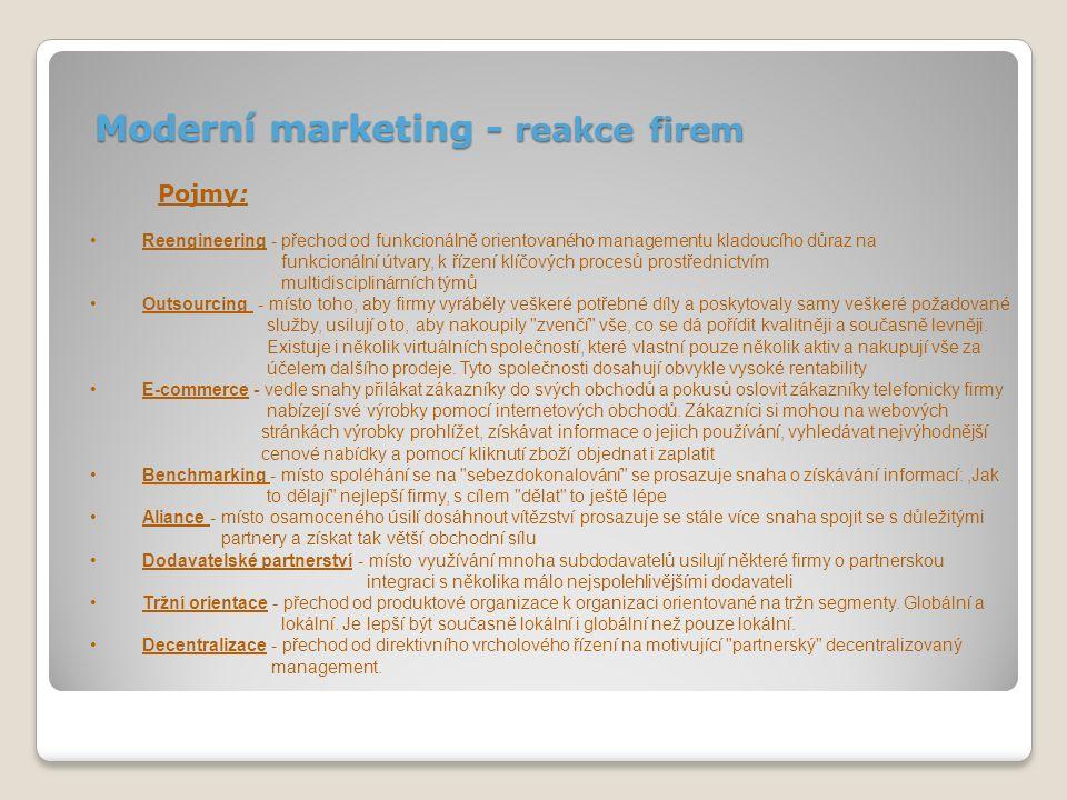 Moderní marketing – reakce obchodníků Pojmy: Vztahový marketing - od zaměření na transakce k budování dlouhodobých, rentabilních zákaznických vztahů.