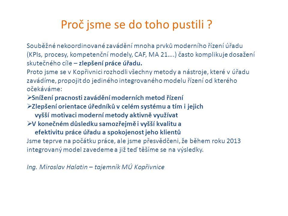 Proč jsme se do toho pustili ? Souběžné nekoordinované zavádění mnoha prvků moderního řízení úřadu (KPIs, procesy, kompetenční modely, CAF, MA 21….) č