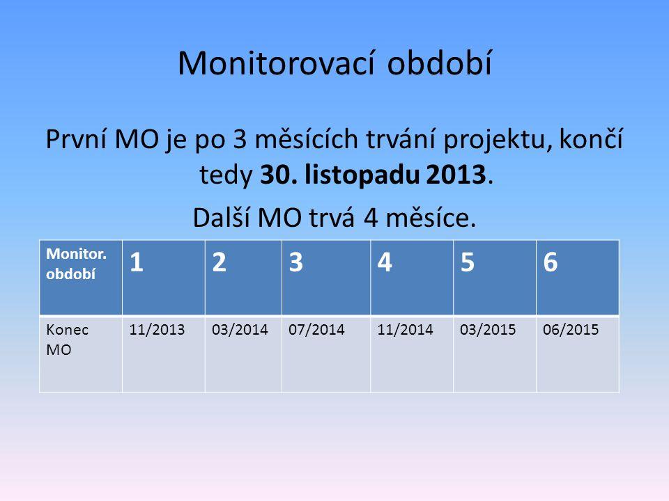 Monitorovací období První MO je po 3 měsících trvání projektu, končí tedy 30.