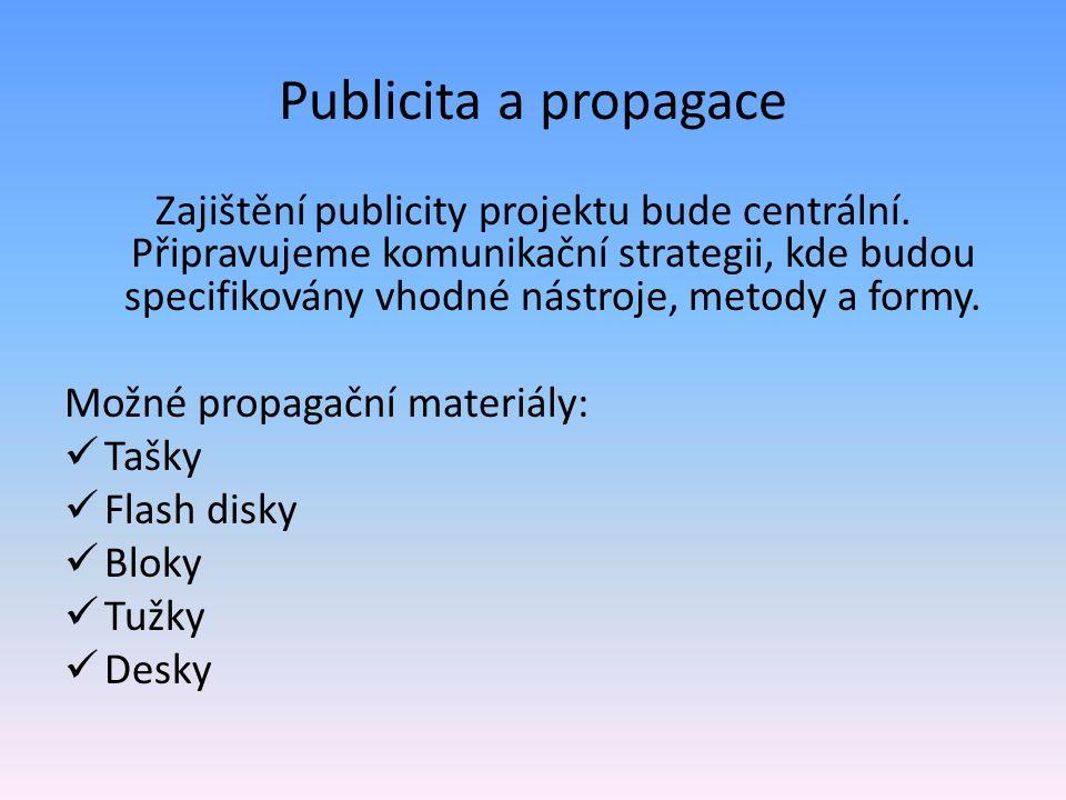 Publicita a propagace Zajištění publicity projektu bude centrální.