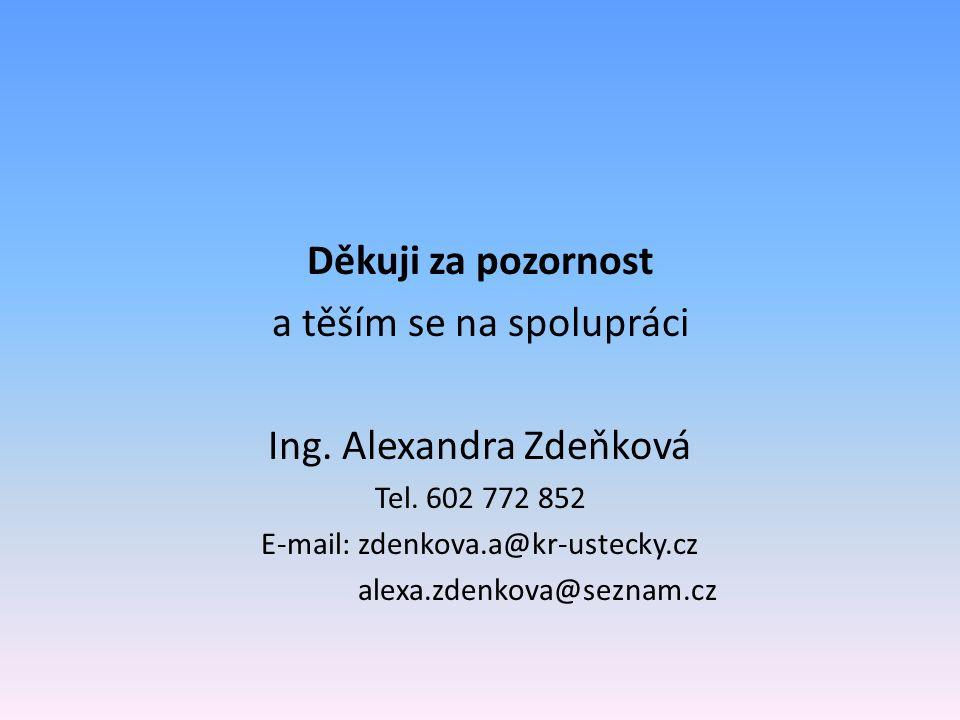 Děkuji za pozornost a těším se na spolupráci Ing. Alexandra Zdeňková Tel.