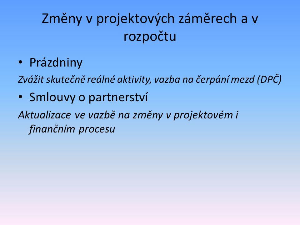 Změny v projektových záměrech a v rozpočtu Prázdniny Zvážit skutečně reálné aktivity, vazba na čerpání mezd (DPČ) Smlouvy o partnerství Aktualizace ve vazbě na změny v projektovém i finančním procesu
