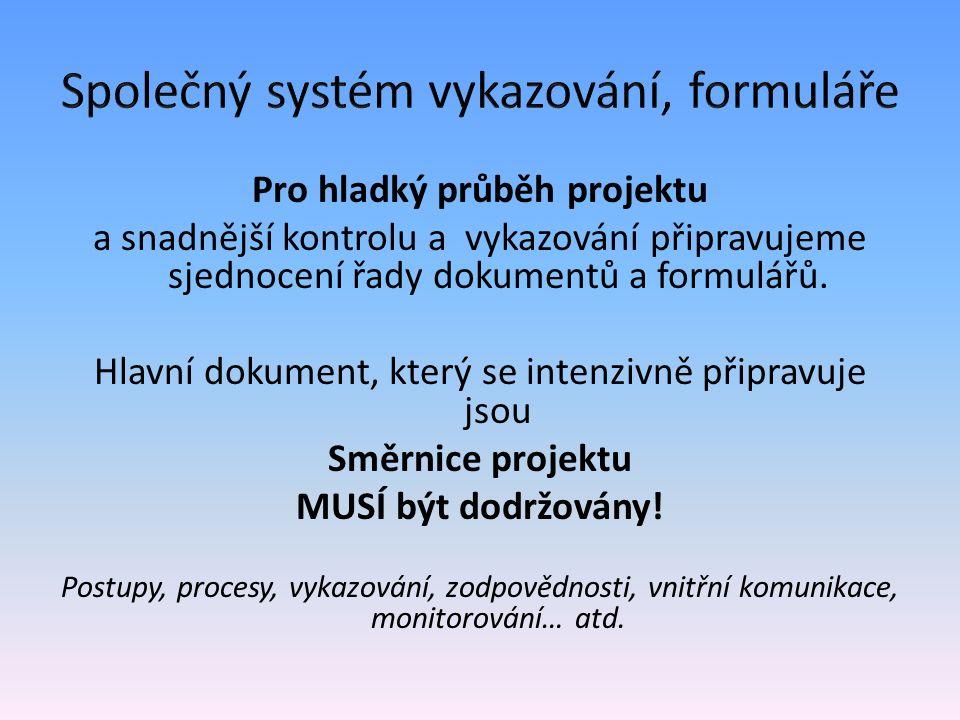 Společný systém vykazování, formuláře Formuláře: Osobní náklady - DPČ, DPP, náplně práce, pracovní výkazy (aktivity k vykazování k jednotlivým pozicím) Cestovné – příkazy vč.