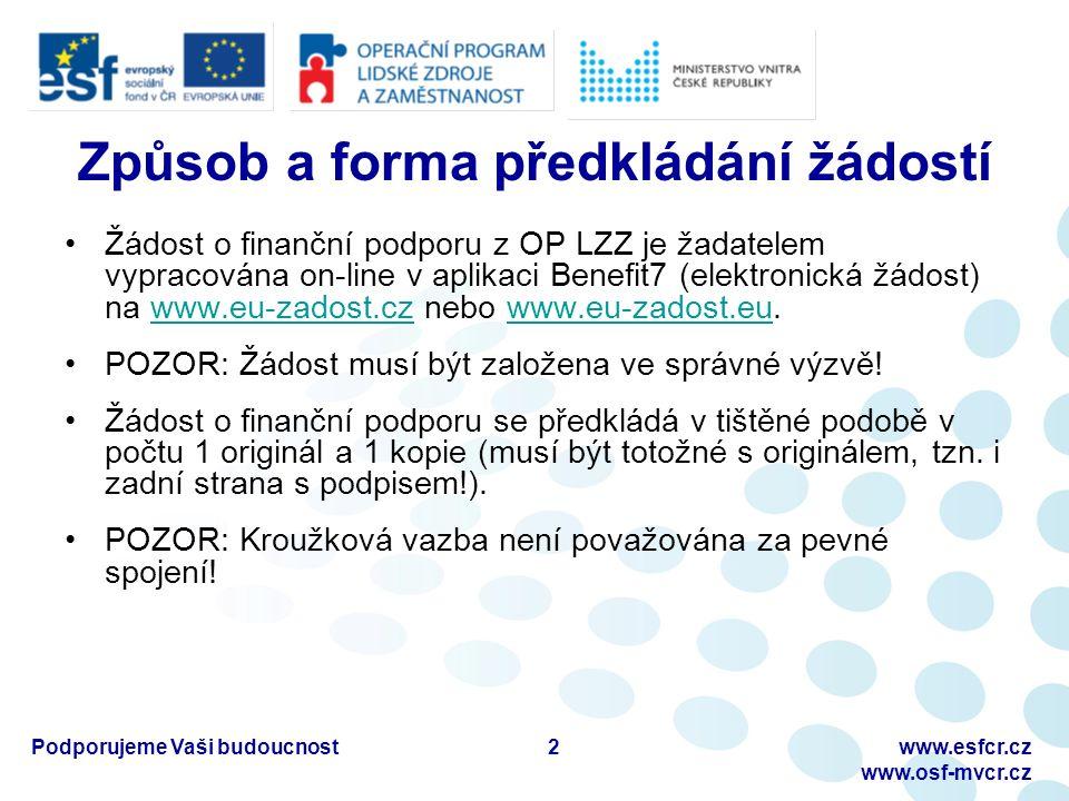 Podporujeme Vaši budoucnostwww.esfcr.cz www.osf-mvcr.cz Způsob a forma předkládání žádostí Žádost o finanční podporu z OP LZZ je žadatelem vypracována on-line v aplikaci Benefit7 (elektronická žádost) na www.eu-zadost.cz nebo www.eu-zadost.eu.www.eu-zadost.czwww.eu-zadost.eu POZOR: Žádost musí být založena ve správné výzvě.