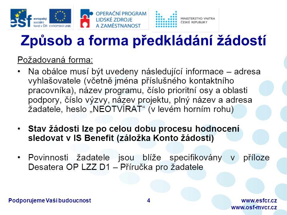 Podporujeme Vaši budoucnostwww.esfcr.cz www.osf-mvcr.cz Formální hodnocení a hodnocení přijatelnosti Provádí se podle checklistu, který obsahuje jednotlivá formální kritéria a kritéria přijatelnosti formou odpovědi ANO/NE Přehled kritérií naleznete v Příručce pro žadatele (D1) nebo na předposlední straně žádosti s názvem Kontrola žádosti Formální hodnocení a hodnocení přijatelnosti probíhá do 15 dnů od uzávěrky příjmu žádostí u všech zaregistrovaných žádostí v IS Monit7+ 5
