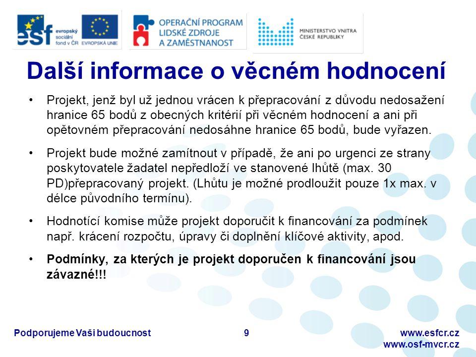 Podporujeme Vaši budoucnostwww.esfcr.cz www.osf-mvcr.cz Schválení projektu  Doporučená žádost k financování je zaslána na ŘO OP LZZ k odsouhlasení potvrzení postupu výběru individuálních projektů.