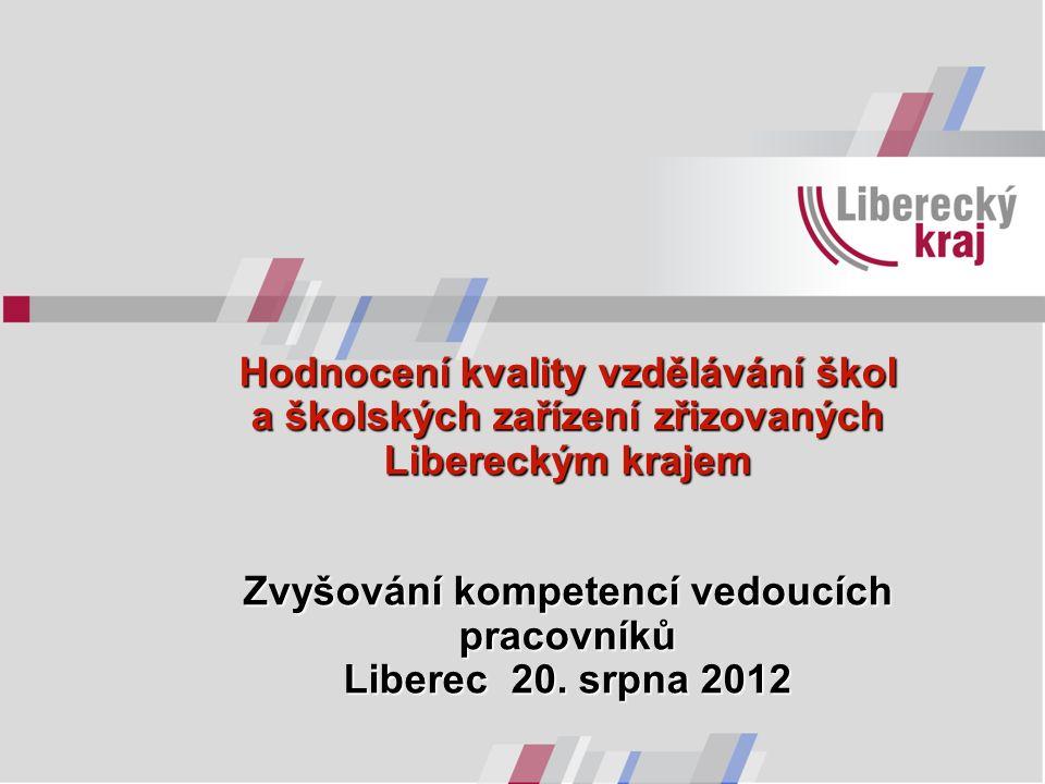 Hodnocení kvality vzdělávání škol a školských zařízení zřizovaných Libereckým krajem Zvyšování kompetencí vedoucích pracovníků Liberec 20. srpna 2012